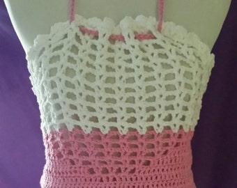 Pink and White Semi Tube Top -- Handmade