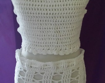 Pure White Halter Top and Matching Skirt Set