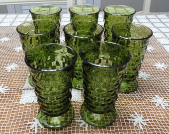 Indiana Glass Whitehall Colony Green Iced Tea Footed Glasses Cubist Pattern - Set of Eight