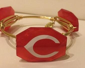 Cincinnati Reds Baseball Wire Wrapped Bangle Bracelet