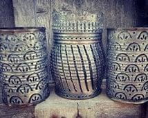Luminary, lantern, candle holder, metal, welded art. Scallop pattern set of 3.