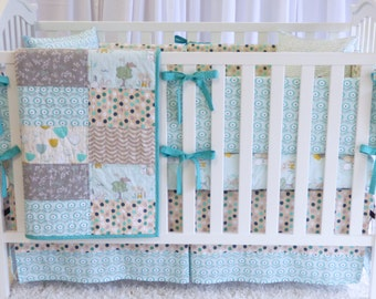 Littlest in Mint Crib Bedding ,quilt, modern bedding, crib bedding, geneder neutral, bunny, woodland, modern nursey, mint green, minky, crib
