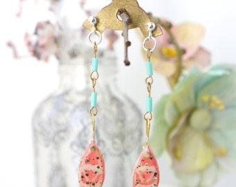Coral rose/ glitter/clay/navette shape/ chain dangly earrings. JE47-115