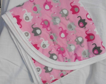 Cotton Flannel Receiving Blanket Pink with Elephants
