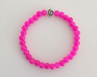 Beaded Bracelet, Stretchy, Fuchsia Round Glass Beads
