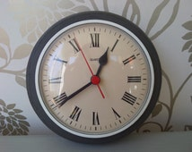 """Black Wall Clock, Classic Retro, Upcycled Vintage 1970's Solid Pine, Hand Painted, Graphite Chalk Paint, Battery Quartz Movement, 7.5"""""""