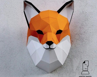 Papercraft fox head - printable digital DIY template