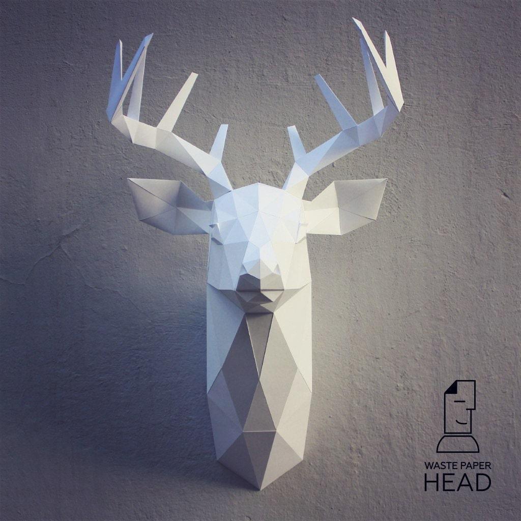 papercraft deer head 3 printable diy template. Black Bedroom Furniture Sets. Home Design Ideas