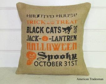 Burlap Pillow, Halloween Pillow, Decorative Pillow, Halloween Decor, Halloween Typography Pillow, Throw Pillow, Burlap Pillows, Rustic Decor