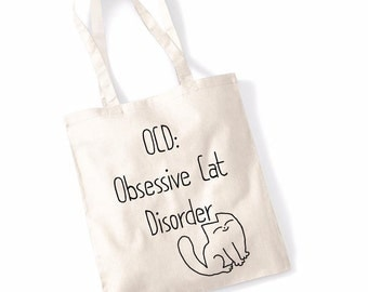 "Women's Gift Idea ""Obsessive Cat Disorder"" Funny Slogan Beach Shopping Tote Bag Retro Indie Book Bag"