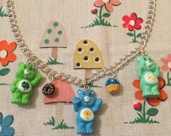 "Care Bears Necklace With Cupcake/Donut Detail on 18"" Chain"