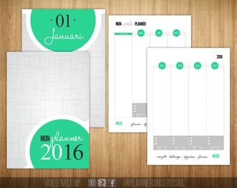 Weekly planner filling green dot A5 2016 printables