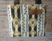 Elegantly Hancrafted Totebag #616 Aztec gold black cream