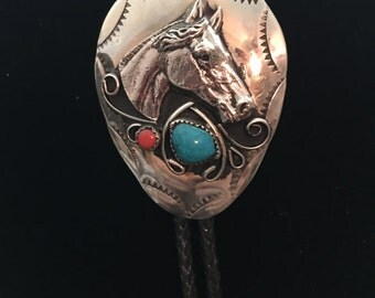 Hand Stamped Nickel Silver Turquoise and Coral Horse Head Bolo Tie