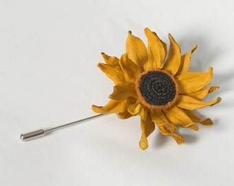Father's Day gift mens lapel pin mens gift|for|him Gift|for|husband Gift|for|dad gift|for|father gift boyfriend gift leather sunflower