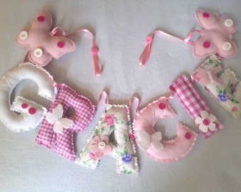 Fabric letters. Personalised name. Wall door hanging. Bunting. Banner. Nursery.  Child's bedroom. . Baby gift. New baby. PRICE PER LETTER
