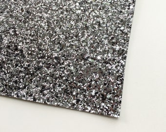 Premium Gunmetal Glitter Fabric Sheet, 8X11 Glitter Sheet, Chunky Glitter, Glitter Material, Glitter Canvas, Silver, Gunmetal, Chunky, Gray