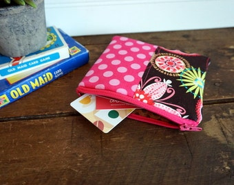 Zipper Bag - Small Coin Purse, Credit Card or Gift Card Holder, Pink, Lime Paisley Flowers and Pink Dots