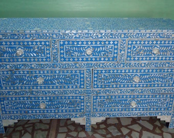 Mother Of Pearl Inlay Chest Of Drawers , Hand Made Furniture , Inlay furniture