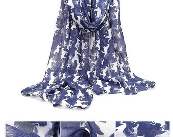 Navy Blue Scarf / Womens Scarves / Infinity Scarves / Fashion Accessories / Printed Scarf / Horse Print Scarf / Shawl / Gift for Her