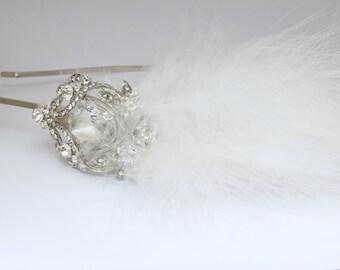 feather tiara, silver tiara, vintage tiara, bridal tiara, wedding tiara, feather wedding tiara, bridal headband, bridal aliceband,