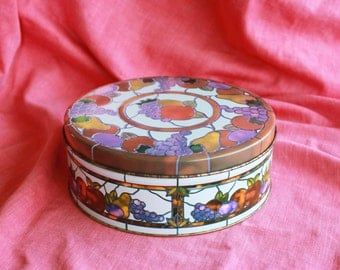Vintage Tin with Stained Glass Motif