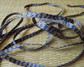 5 yards of Jute Trim, Frayed Jute Trim, Beige and Blue Braided Jute Trim
