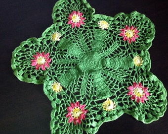 Crocheted Doily Green Star Yellow Pink Flowers Handmade Hand Crafted Crochet