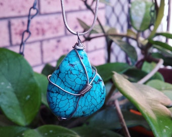 Wirewrapped Turquoise Stirling silver Necklace