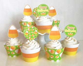 Printable Candy Corn Halloween Cupcake Toppers and Wrappers, Kid's Halloween Party, Candy Corn Cupcakes, Instant Download