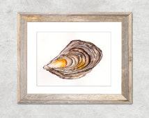 Oyster Original Watercolor Painting in Yellow