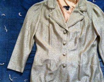 Vintage 1960's Metallic Gold Jacket + Cropped Pants