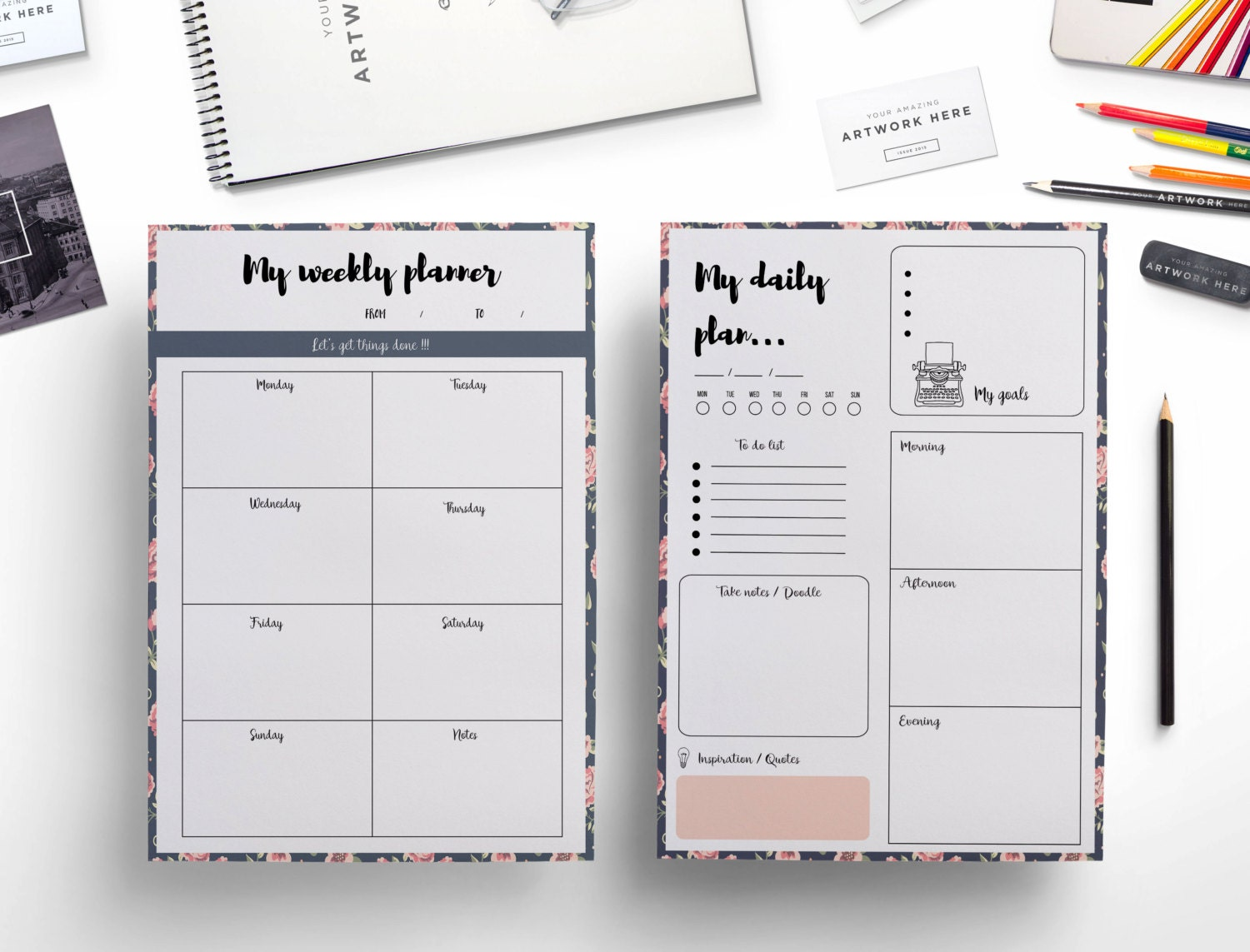 Floral weekly planner daily planner elegant design – Daily Planning Template