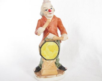Vintage clown figurine statue with drums red green yellow white circus decor made in Korea