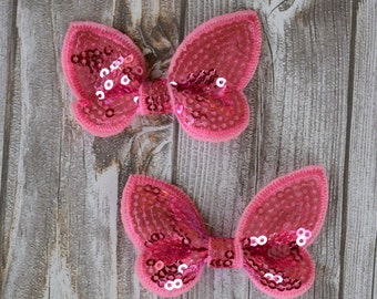 6 Butterfly sequin applique's - Pink butterflies - Fabric applique - Bling applique - Set of 6 - Crafting butterflies - Fabric crafts