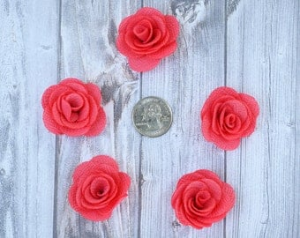 Coral burlap flowers - Set of 5 - Crafting roses - Craft supply flowers - 1 3/4 inch - DIY headband - Crafting supplies - Burlap roses