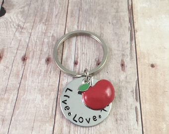 Teacher keychain, Thank you teacher gift keychain, Live, Love, Teach quote keyring, back to school teacher gift, teacher friend gift, apple