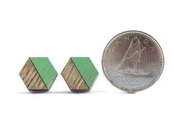 Tiny Hexagon Earrings, Wooden Hexagon Studs, Laser Cut Wood Earrings, Light Green Stud Earrings, Wood Stud Earrings, Geometric Studs