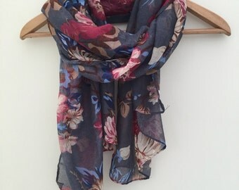 Grey Blue and Pink Floral Women's Scarf