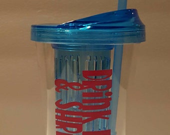 Custom Infused Tumbler, Plexus Water Bottle, Pink Drink, 16oz Double Wall Tumbler - Blue with pink lettering.