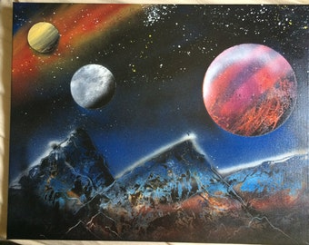 Large Space painting with mountians