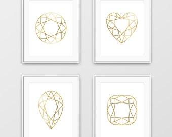 Diamonds, Geometric Diamonds, Gold Foil Art, Printable Diamond Art, Diamond Shapes, Minimalist, Diamond Print, Diamond Wall Art, Diamond