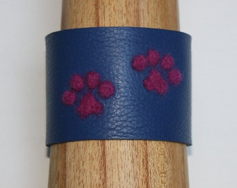 Leather Dog Paw Felted Cuff - Handmade
