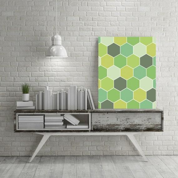 Wall Decor Hexagon : Green wall art geometric print hexagon by ojudesign