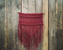 Rich Burgundy Macrame Wall Hanging
