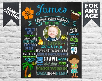 1st birthday luau etsy for First birthday board template