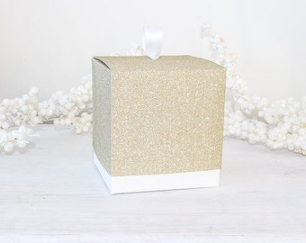 """Single Gold Wedding Cupcake Boxes, Gold Glitter Favor Boxes, Party Favor Inserts Standard Large Cupcake,  10 Boxes 4""""x 4"""" x 4 1/8"""" - 4x4x4"""