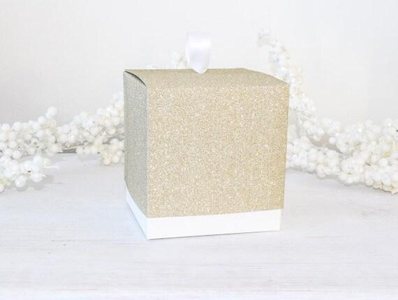 Gold Favor Boxes 4x4x4 : Single gold wedding cupcake boxes glitter favor
