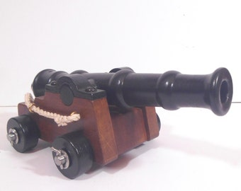 Handmade Wooden Cannon with Turned Barrel, Vintage Cannon, Hand Turned, Military Gift, Military Gift, Man Gift, Man Cave Gift