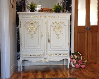 Sold--Carved Vintage French Cabinet Shabby Chic Drinks Tv Cabinet Linen Cupboard Annie Sloan